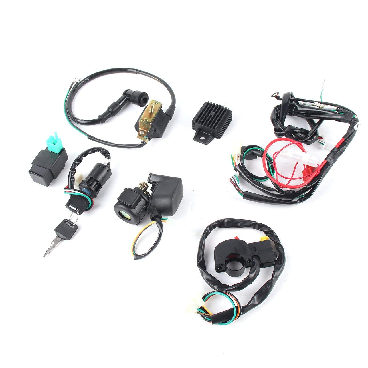 Black Professional Motorcycle CDI Wiring Harness Loom Ignition Solenoid Coil Rectifier for 50cc-125cc Pit Quad Dirt Bike ATV