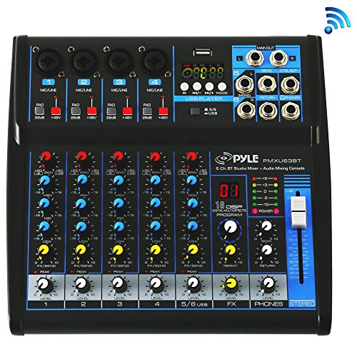 Pyle Professional Audio Mixer Sound Board Console - Desk System Interface with 6 Channel, USB, Bluetooth, Digital MP3 Computer Input, 48V Phantom Power, Stereo DJ Streaming & FX16 Bit ()