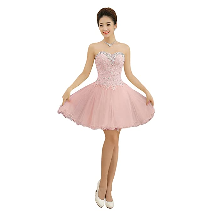 Beautyprom - Vestido corto para mujer, diseño de tul con encaje ...