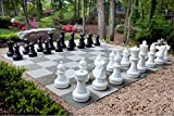 outdoor chess table MegaChess Giant Premium Chess Pieces Complete Set with 25 Inch Tall King - Black and White