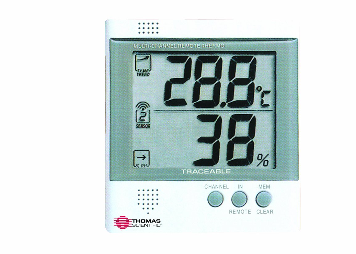 Thomas Workstation Traceable Radio-Signal Remote Humidity Meter/Thermometer, -4 to 140 degree F, -20 to 60 degree C, 25-90% RH