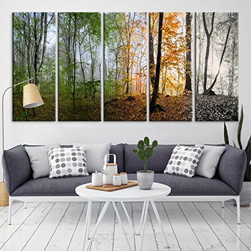 Amazon.com: Modern Large Wall Art Four Seasons Canvas Print - Framed ...
