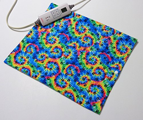 "Replacement Cover for 12"" x 15"" Heating Pad ~ Heating Pad Cover ~ Cover Only ~ Tie Dye Paw Print by Practical Things I Love"