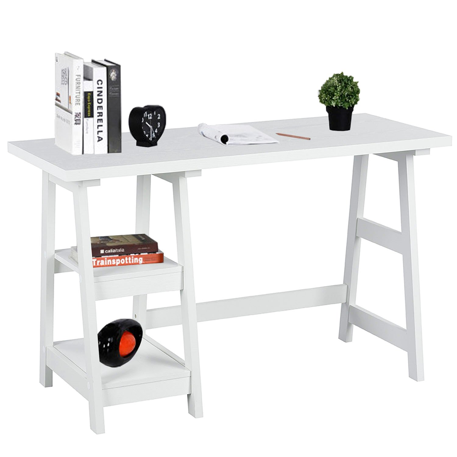 Trestle White Computer-Desk with 2 Removable Storage Shelves Home Office Workstation Solid Wood Study Writing-Desk Computer Armoires Hutches 46.8 x 19.9 x 29 inches, CAS004 by Coavas