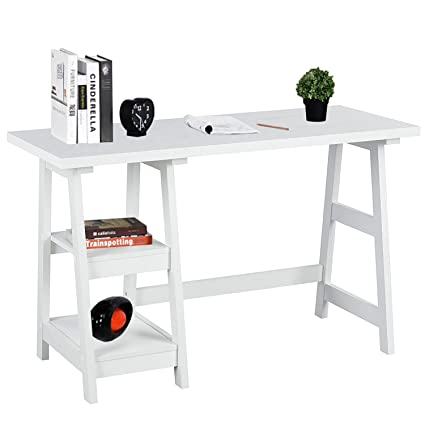 Exceptionnel Writing Computer Desk Laptop Table White Trestle Home Office Desk Study  Reading Desk Workstation With 2