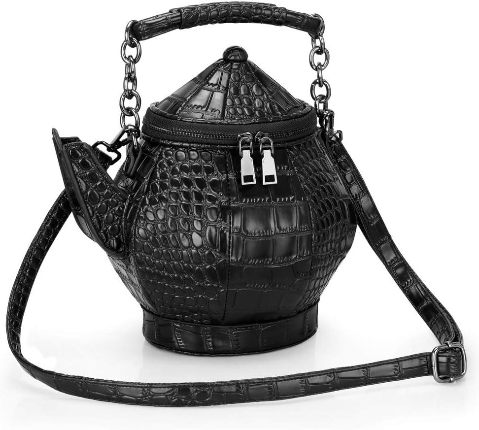 Funny Purse, Gothic Teapot Shaped Crossbody Handbag Top-handle Funky Tote Women's Novelty Shoulder Bags