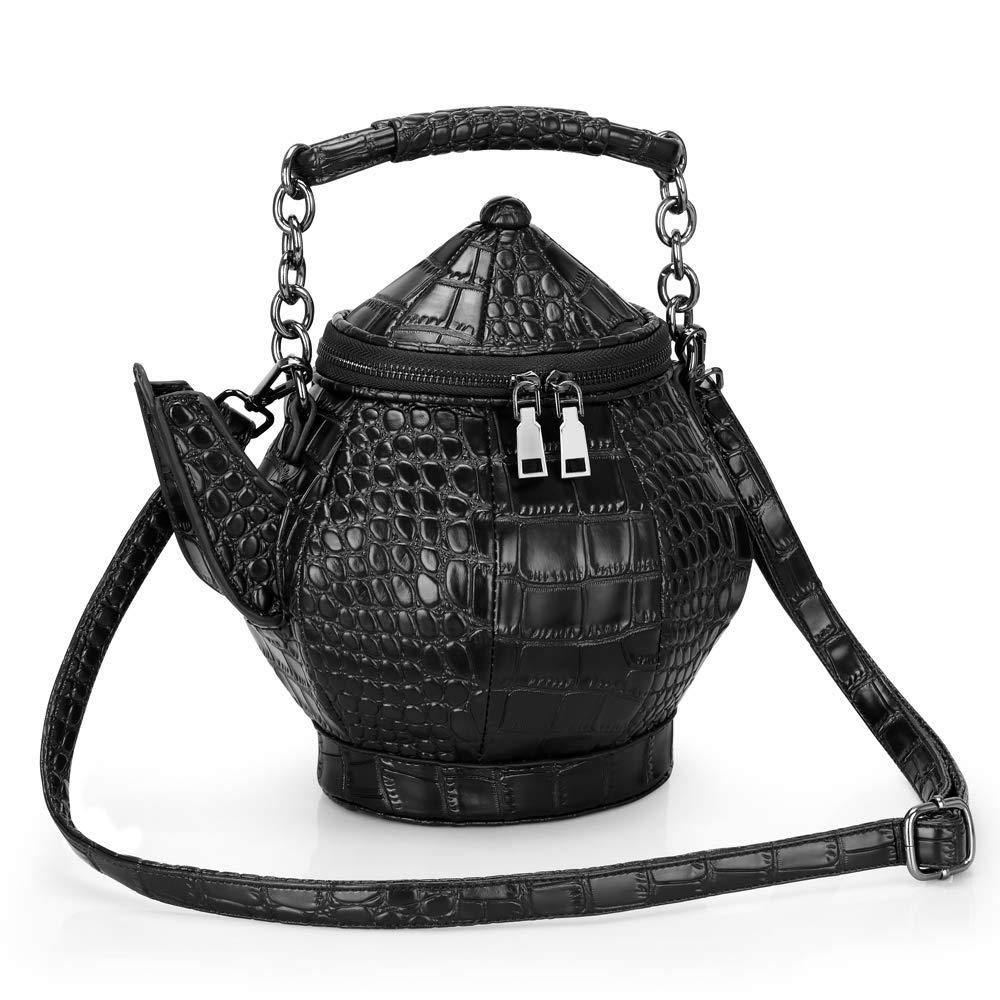 ویکالا · خرید  اصل اورجینال · خرید از آمازون · Funny Gothic Purse, Teapot Shaped Crossbody Handbag Top-handle Tote Women's Shoulder Bags wekala · ویکالا