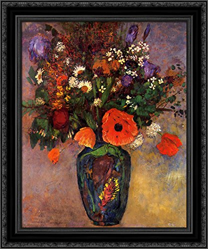 Vase de Fleurs 20x24 Black Ornate Wood Framed Canvas Art by Redon, - Vase Fleurs De