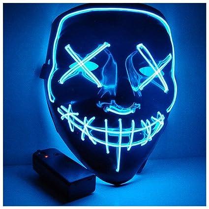 MILIER Máscaras de Halloween, Máscara LED Máscaras de Fiesta de Disfraces Cosplay Grimace Festival Decoración Máscara para Adultos y Niños (Azul)