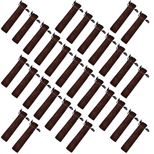 (Crqes 30 Pcs Coffee Velvet Pen Pouch Sleeve Holder Single Pen Bag Case Pencil Bag)