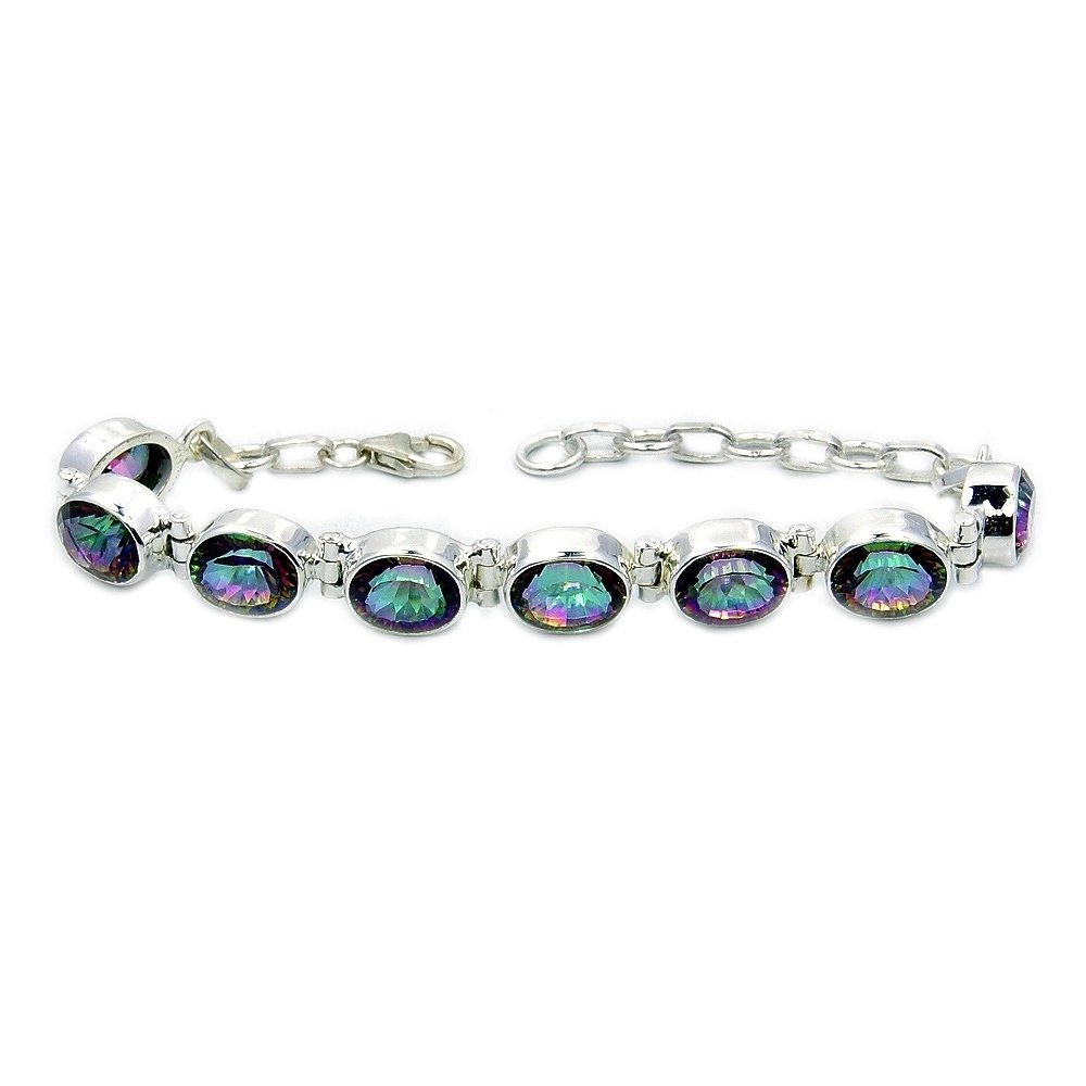 Incredible Sterling Silver Mystic Topaz Bracelet, Adjustable From 5.75''-7''