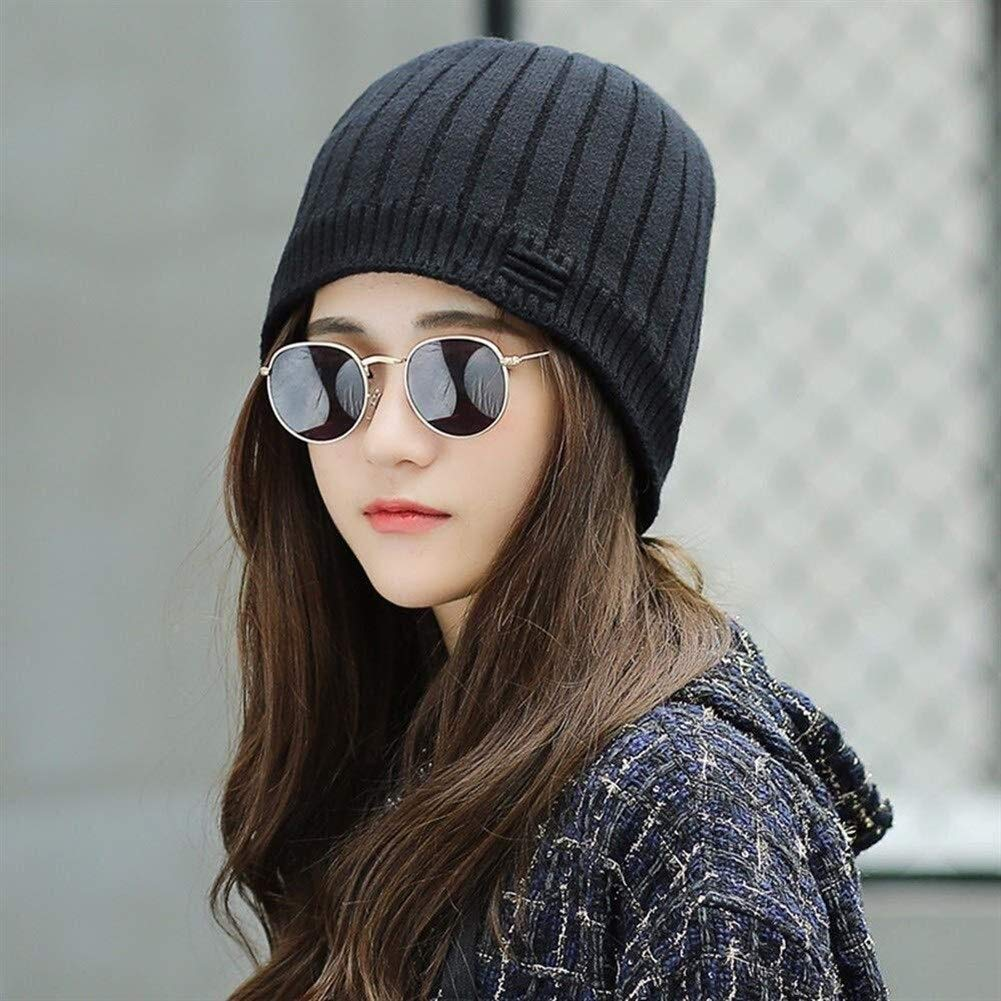 Luoshangqing Wool Hats for Winter, Warm Plus Velvet Ear Protector Cap Casual Women Visor (Color : Black, Size : M) by Luoshangqing
