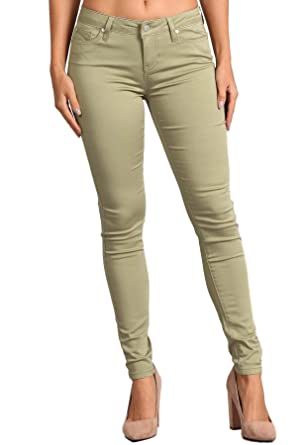 1205d6c9e3204 Celebrity Pink Women's Mid Rise Colored Skinny Pants CJ21038Z35 (Silver  Sage, ...
