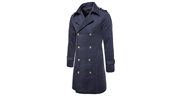 fe5558413197 YUNCLOS Men's Trench Coat Long Wool Blend Slim Fit Jacket Winter Double  Breasted Overcoat