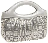 Whiting & Davis Cubes Screen Print Clutch with Chain Strap,Satin Silver,one size