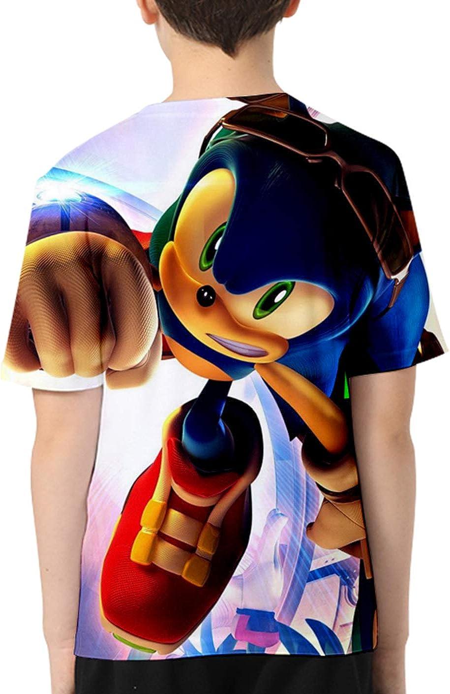 JOAYIN Bambino Sonic T-Shirt Stampato con Personaggi di Sonic The Hedgehog Maglietta Sveglia del Fumetto 3D per Ragazzo e Ragazza Maniche Corte Colorate Estive