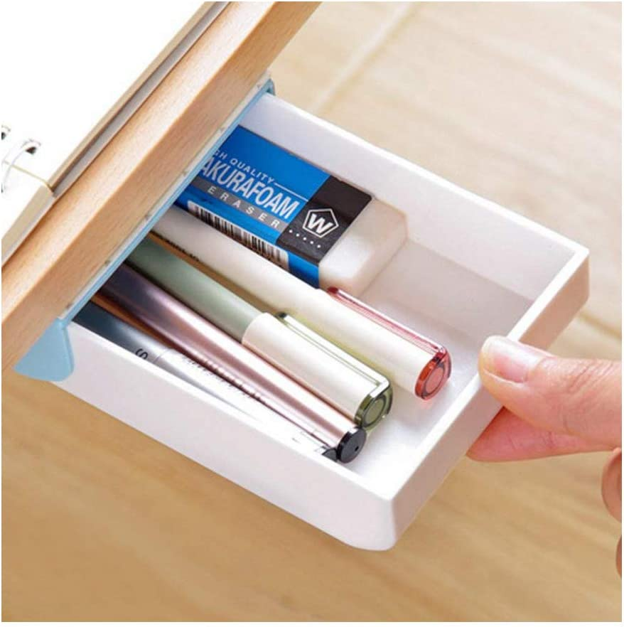 Colorsheng Office Supplies Drawer Pencil case Pop-Up Hidden Desktop Organizer Self-Adhesive(Blue)