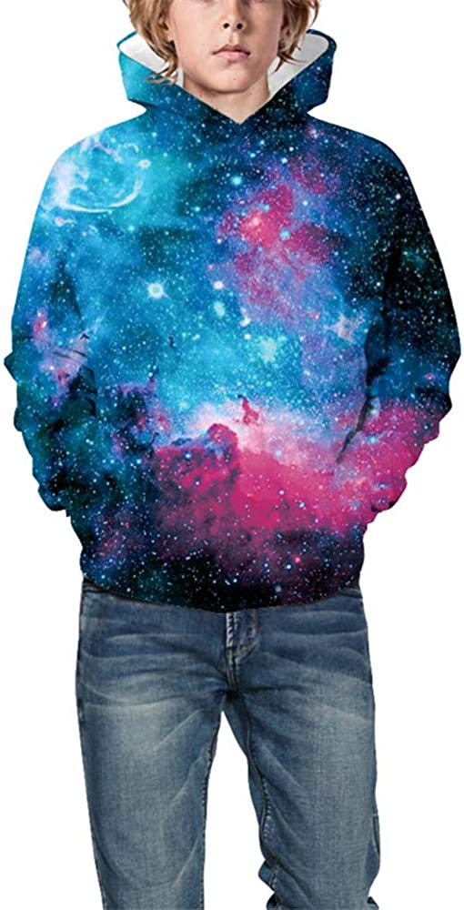 Morbuy Winter Autumn Kids Casual Long Sleeve Tracksuits Tops with Pocket Pullover Hoodie Jacket 6-14 Year Boys Girls 3D Cosmic Galaxy Print Unisex Hoodies