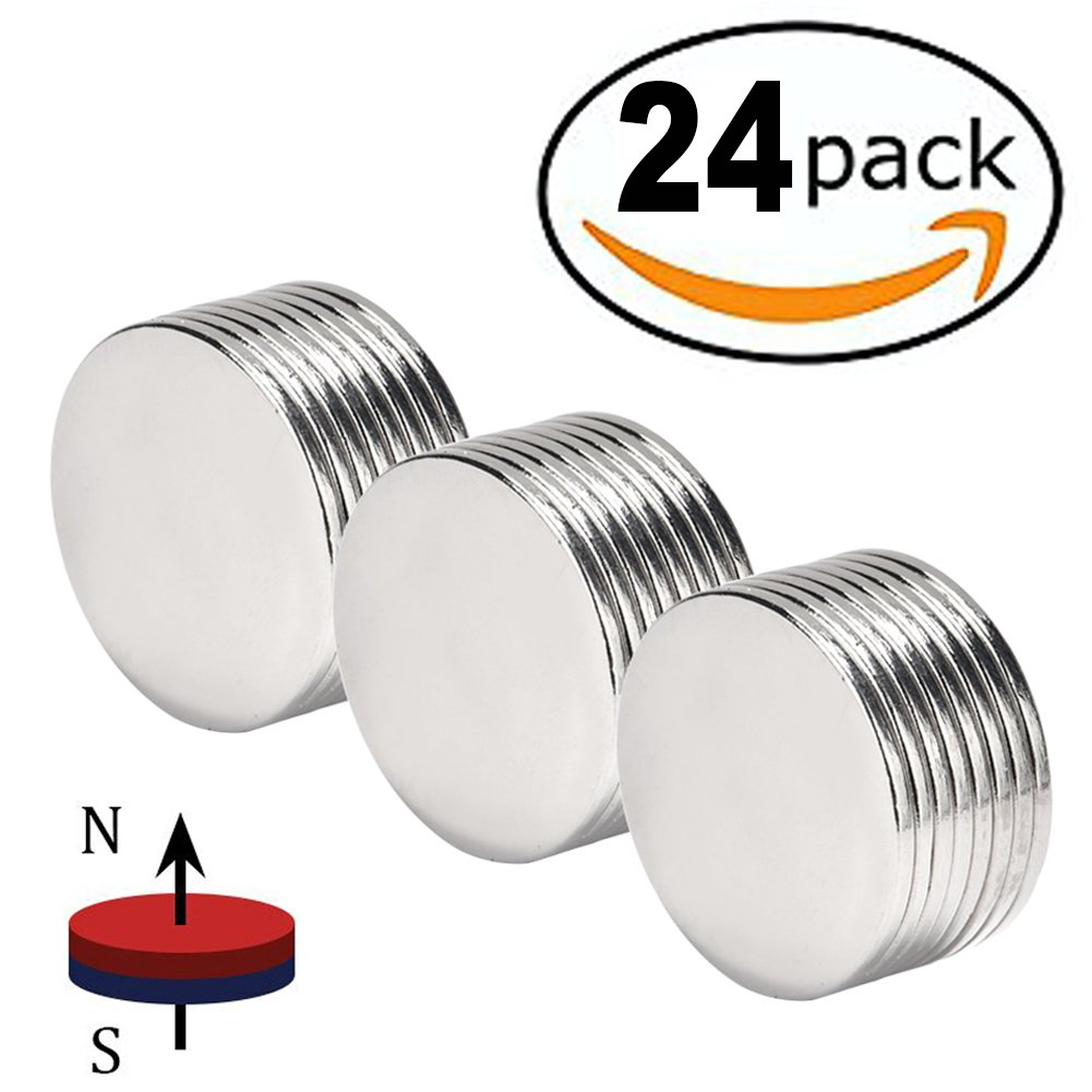 "FINDMAG Powerful Neodymium Disc Magnets Strong Permanent Rare Earth Magnets Fridge DIY Building Scientific Craft and Office Magnets 1.26""D x 0.08""H Pack of 24"