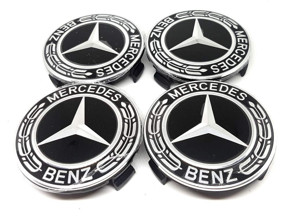 4X Nabendeckel Felgendeckel Lega Logo Mercedes 75mm Schwarz mit Palma - Klasse A B C E GLK Forten Car