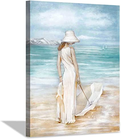 Amazon Com Abstract Beach Artwork Ocean Picture Modern Women With Umbrella Sea Print Coastal Wall Art On Canvas For Bedroom 24 X 18 X1 Panel Posters Prints