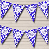 Cow Print Animal Blue White Personalized Hen Do Night Party Bunting Banner