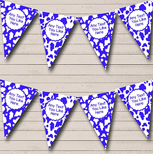 Cow Print Animal Blue White Children's Birthday Party Bunting Banner by The Card Zoo