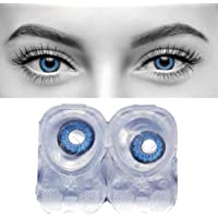 Diamond Eye -Blue Colour Monthly Contact Lens (Zero Power) With 30 Ml Contact Lens Solution by T&R lens.