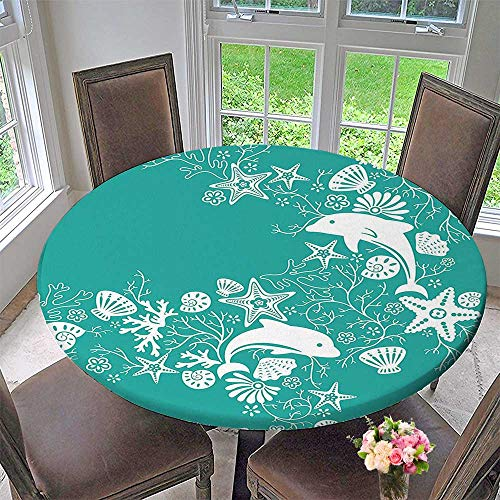 Mikihome Round Fitted Tablecloth Animals Decor Dolphins and Flowers Sea Floral Pattern Starfish Coral Seashell Wallpaper Pattern for All Occasions 31.5