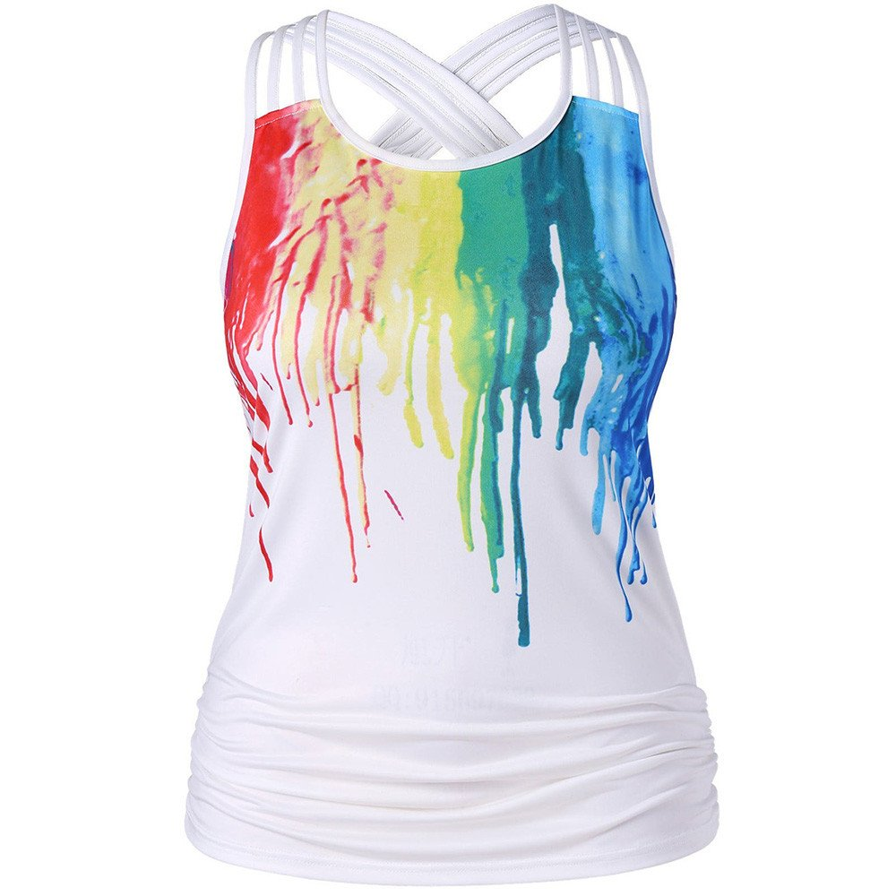 DongDong Criss Cross Sleeveless Ruched Paint Drip Tank Tops Blouse Rainbow Pullover Shirt for Women