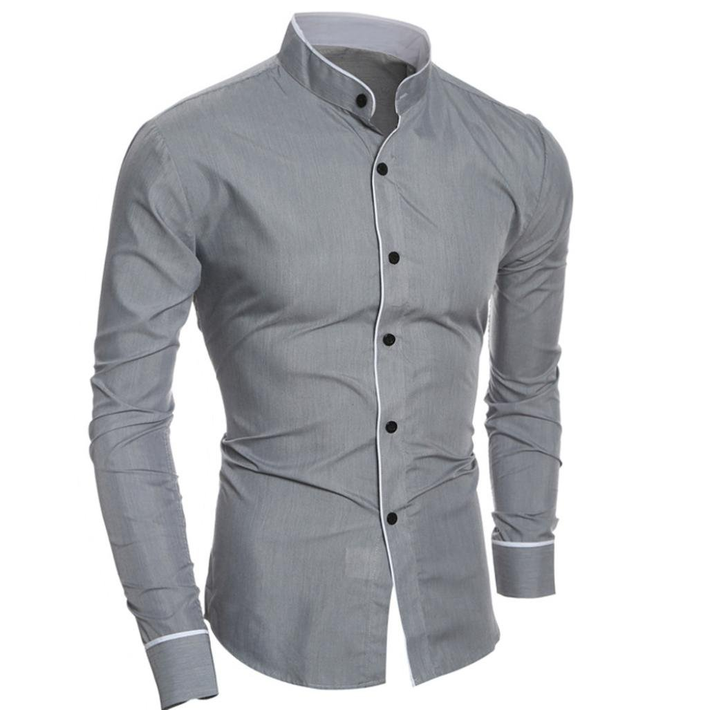 L, Black Men Dress Shirts Daoroka Cotton Casual Long Sleeve Work Wear Button Collar Blouse Slim Fit Fashion Comfort Business Tops T Shirt