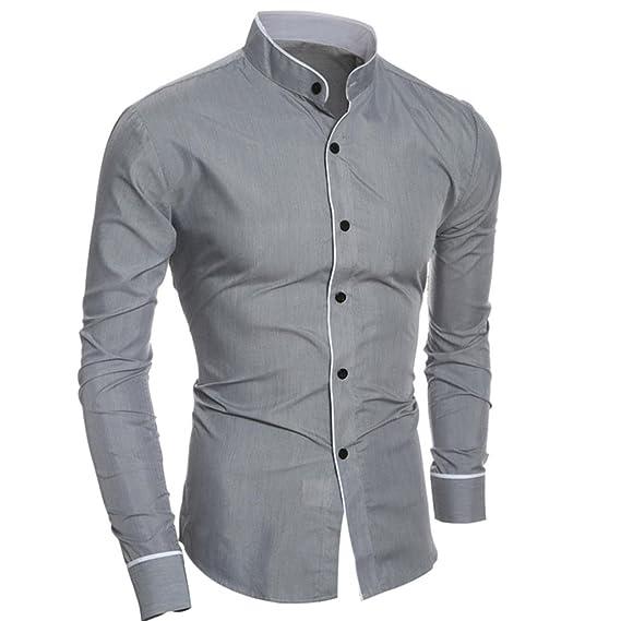 L, White Men Dress Shirts Daoroka Summer Cotton Casual Long Sleeve Business Work Wear Button Collar Blouse Casual Slim Fit Fashion Comfort Tops T Shirt