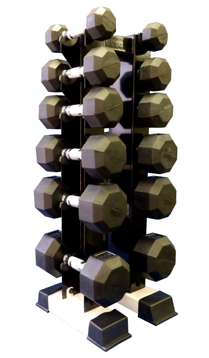 Ader Rubber Dumbell Sets 6 Pairs 3,5,8,10,12,15 with RACK