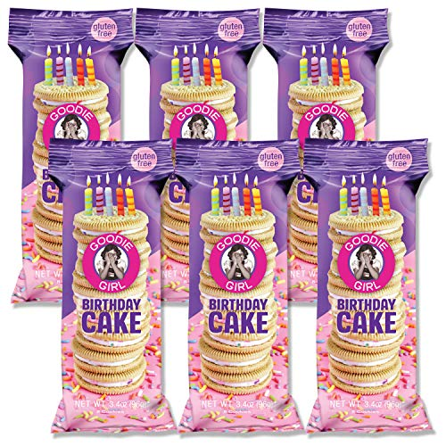 Goodie Girl Cookies Birthday Cake Individually Wrapped Snack Pack Cookies, Peanut Free and Gluten Free Delicious Snack Cookies (3oz Bag, Pack of 6)