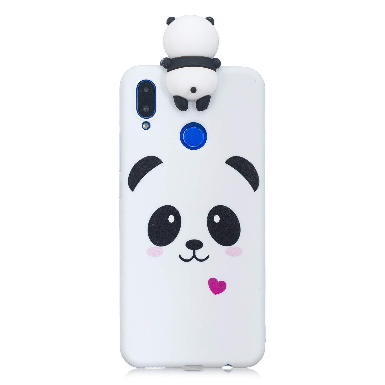 Artfeel Niedlich 3D Karikatur Panda Hü lle fü r Huawei P Smart Plus,Huawei Nova 3i Hü lle, Bunt Schö n Tier Muster Weich Silikon Handyhü lle,Ultra Dü nn Flexibel TPU Bumper Stoß fest Schutzhü lle-Weiß