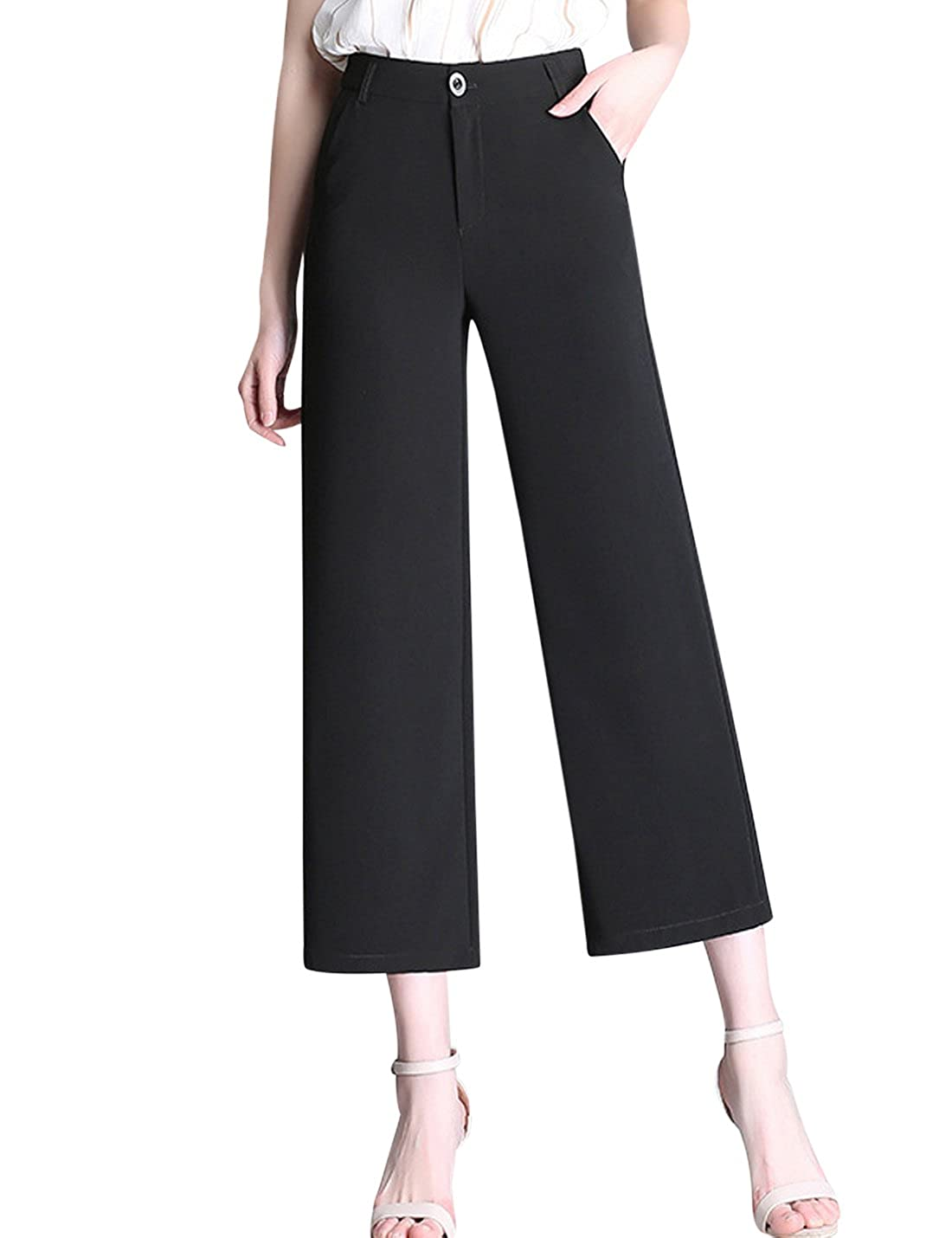 a5390a68e792d Tanming Women s Fashion High Waist Cropped Wide Leg Pants Trousers at  Amazon Women s Clothing store