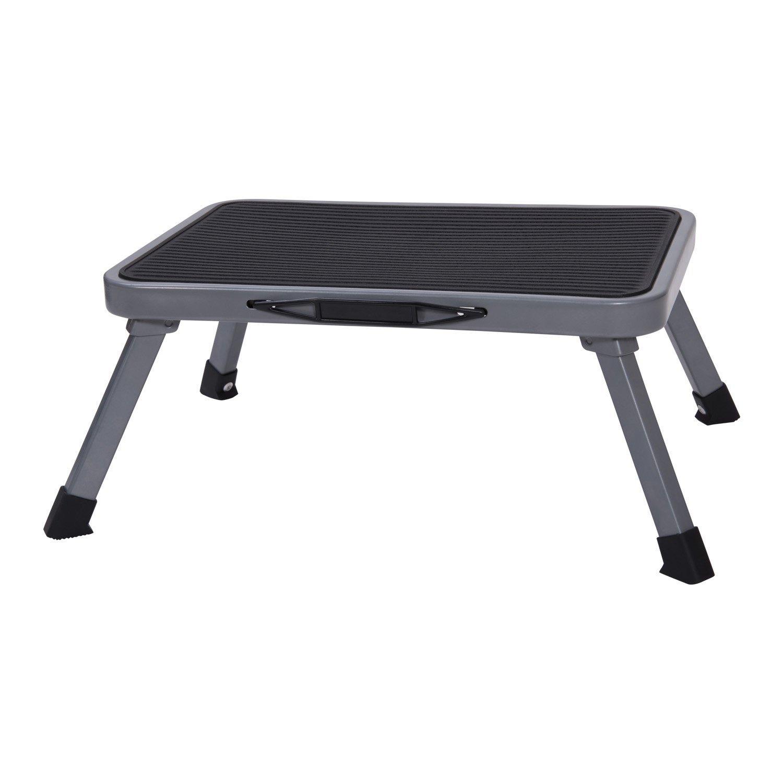 Ollieroo Marchepied légère portable pliable Escabeau en acier avec antidérapante en caoutchouc plate-forme One Step Capacité de 149,7kilogram