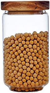 Glass Food Storage Jar 950ml/32oz Clear Glass Canister with Airtight Seal Acacia Wood Lids Kitchen Food Storage Container for Coffee Bean Loose Tea Spice Bottle Sugar Cookies Nuts Snack Candy Jar