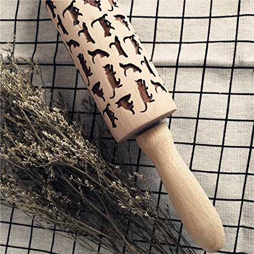 *5 34 Hosaire 1x Creative Rolling Pin Wooden Engraved Embossing Rolling Pin Cookies Fondant Embossing Patterned Roller with Cats Print L W