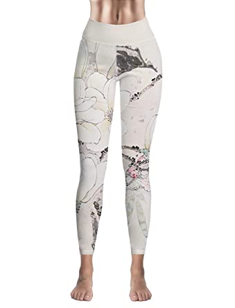 b383794189 Womens High Waist Yoga Workout Leggings Tight Pants Chinese Style Flowers