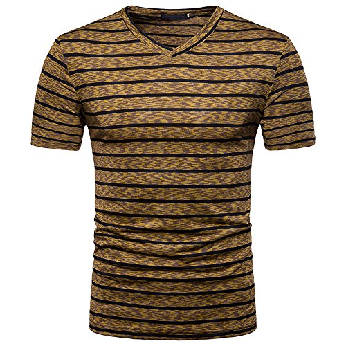 Stripe T Shirts for Men, MISYYA V Neck Polo Shirt Breathable Sweatshirt Muscle Tank Top Masculinity Undershirt Mens Tops Coffee by MISYAA (Image #4)