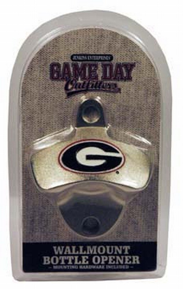 NCAA Georgia Bulldogs Bottle Opener Metal Retro Wall Mount, Small, Metallic with Team Color