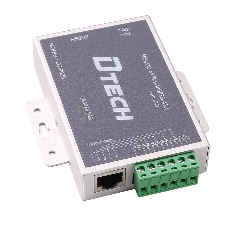 DTech Active Isolated RS232 to RS485 RS422 Converter with RJ45 Serial Port Terminal Board Power Adapter DB9 Cable Optical Isolation Protection 2.5kV by DTech