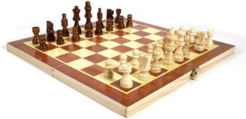 LHs stores Ajedrez Juego de ajedrez Internacional de Madera Plegable Juego de Piezas Juego de Mesa Colección de Piezas de ajedrez Ajedrez portátil Juego de Damas Juegos de Viaje Tablero de Ajedrez: