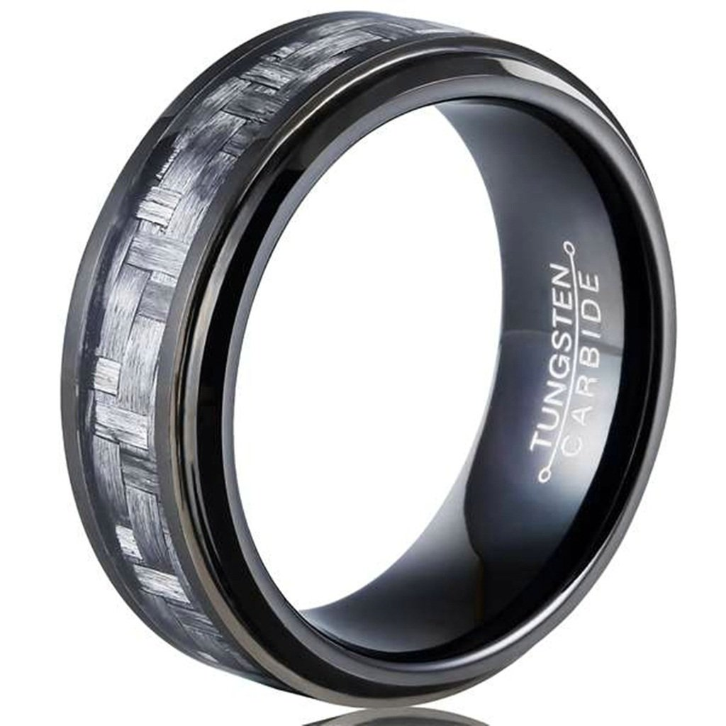 Bishilin Tungsten Grey Carbon Fiber Inlay Black 8MM Ring Wedding Band for Mens Size 8