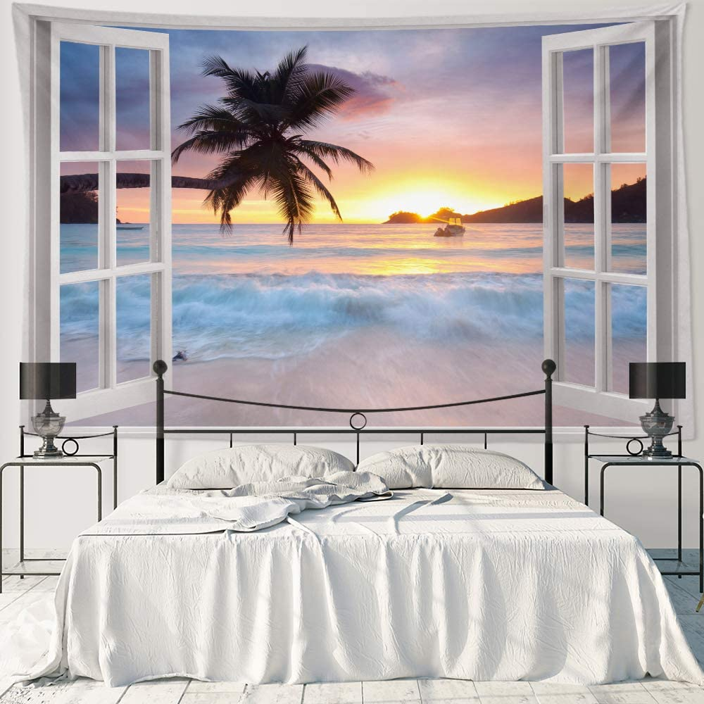 """HIYOO Home Nature Art Wall Hanging Fabric Tapestry, Tropical Ocean Sea Coast Seashore Island Palms Trees Theme, Decor for Dorm Room, Bedroom,Living Room, Background - Sunset Beach Waves 90"""" W x 60"""" L"""