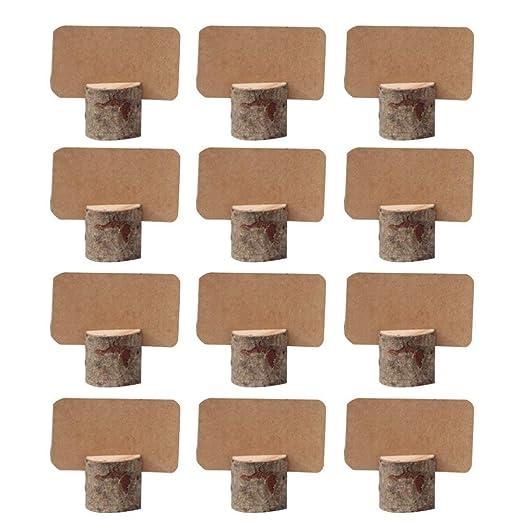 Amajoy 12 unids Titulares de tarjetas con tarjeta de Kraft en blanco Tarjetas de madera Clips Titular Foto Nota Nombre Número Mensaje Tabla de la boda ...
