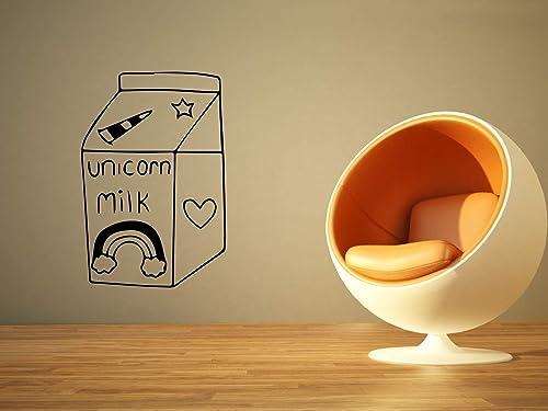 Amazon Com Wall Sticker Unicorn Milk Magic Drink Rainbow Heart Star Cute Kitchen Vinyl Mural Decal Art Decor Eh2540 Handmade