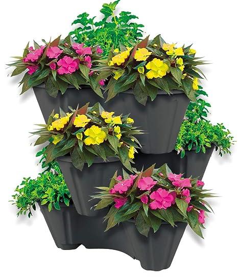 Antracita Ahorra Espacio para hasta 9 Plantas y Hierbas UPP Torre de plantaci/ón con macetas apilables para jard/ín Vertical con 3 Pisos