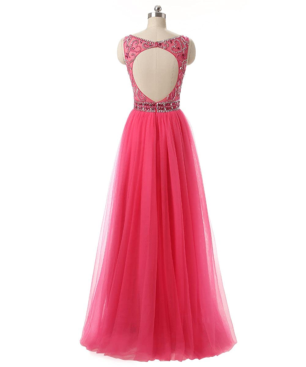Callmelady High Neck Tulle Long Prom Dresses For Women Evening Party: Amazon.co.uk: Clothing